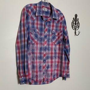 Recycled Bleach Splatter Western Oversize Shirt